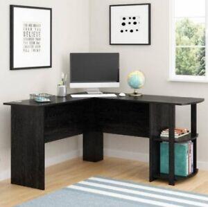 Black L Shaped Corner Desk Workstation