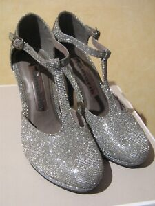 Details about Tamaris Platinum Silver Sparkly Special Occasion Heels Wedding Prom Party Disco