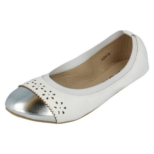 SPOT ON H2R410 Girls Pretty Silver and White Faux Leather Slip on Shoe