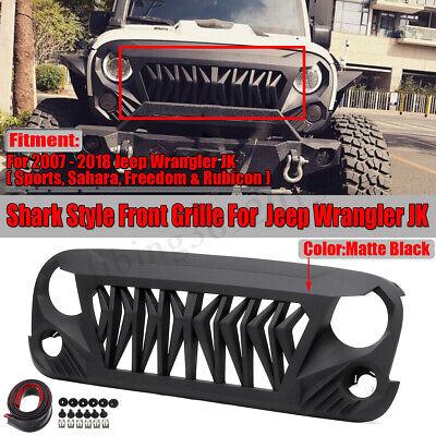Jeep Wrangler Grill >> Front Shark Grille Grill For Jeep Wrangler Jk Jku Unlimited Rubicon Sahara 07 18 Ebay