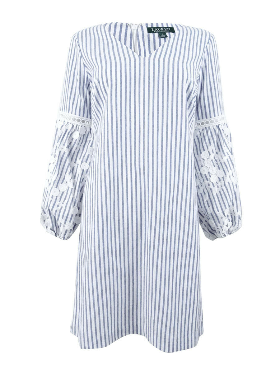 Lauren by Ralph Lauren Woherren Lucinda Striped Day Dress (2, Blau Weiß)