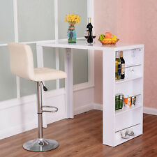 Modern Bar Table with Storage Shelves Pub Bistro Kitchen Dining Furniture White