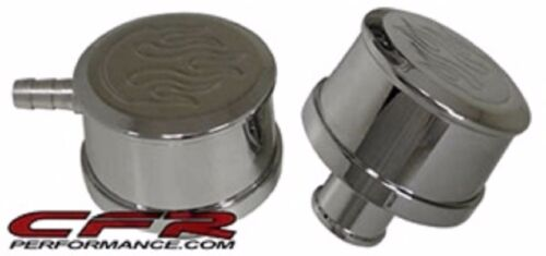 CHROME BILLET ALUMINUM ROUND PUSH IN BREATHER PCV SET FLAMED