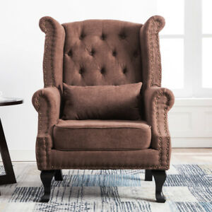 Wing Chair Velvet Fabric Retro Fireside Occasional Lounge Accent Chair Armchair