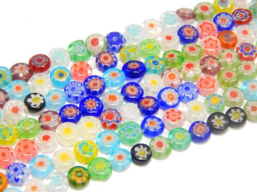 Millefiori abalorios 6mm disco mixfarbe con flor 1 Strang joyas Best d83g