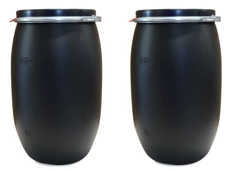 2 x Futtertonne Wassertonne Regentonne Maischefass Weithalsfass 120 L schwarz