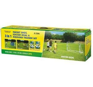 Details about TARGET SHOT AND REBOUND TRAINER FOOTBALL GOAL POST SET KIDS 3  IN 1 6FT NET