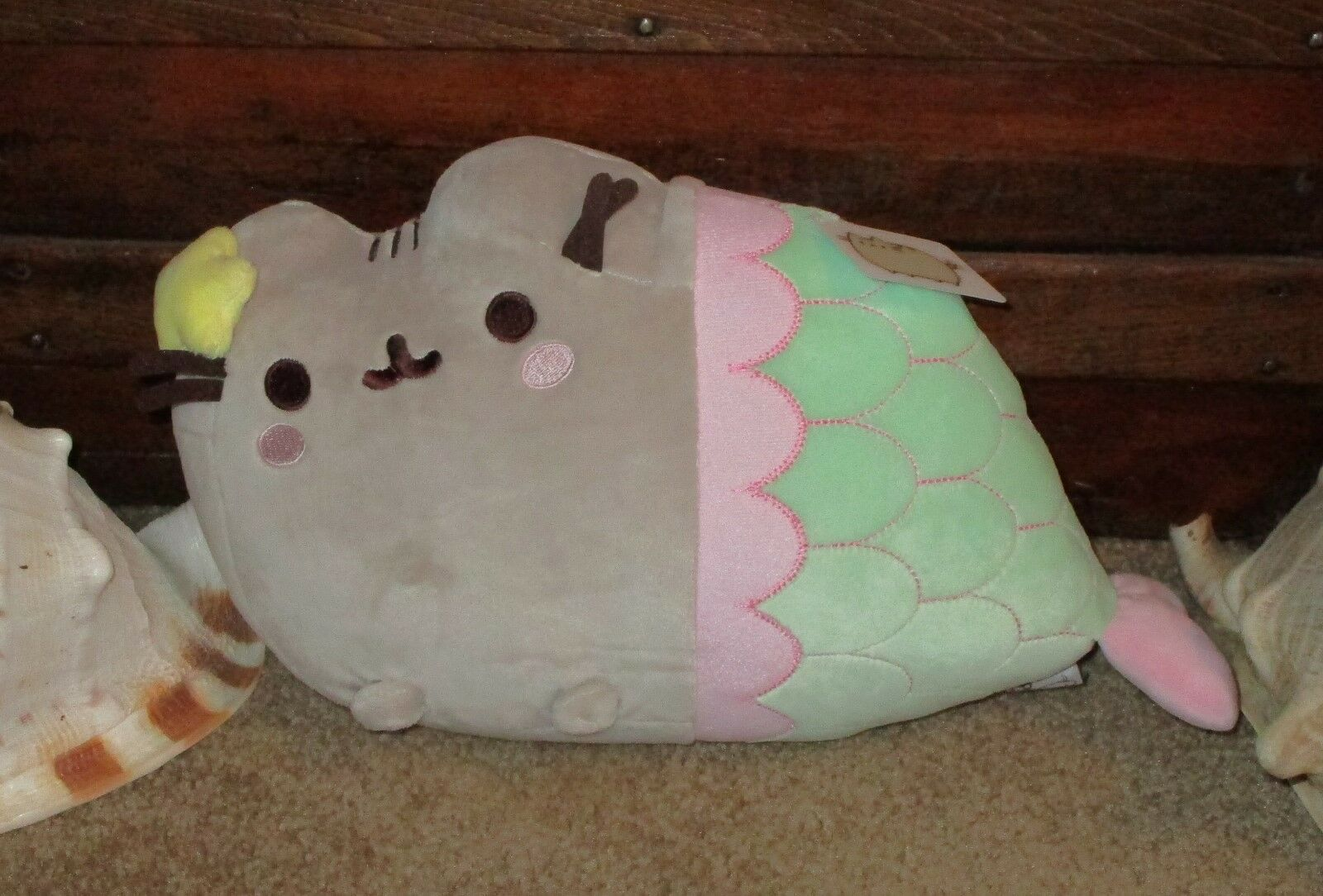 RARE SOLD OUT PUSHEEN CAT MERMAID MERMAID 12  PLUSH GUND PASTEL CUTE NEW WITH TAGS