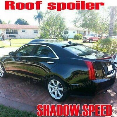 Flat Black BRS Rear Window Roof Spoiler Wing For 2016~18 Cadillac ATS-V Sedan