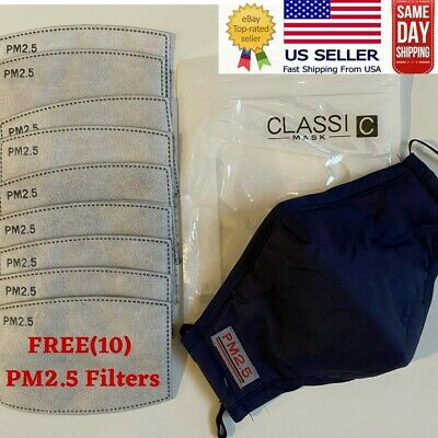 Face Mask Reusable Washable Masks W 10 Filter Pocket 1 Pack Navy Ebay