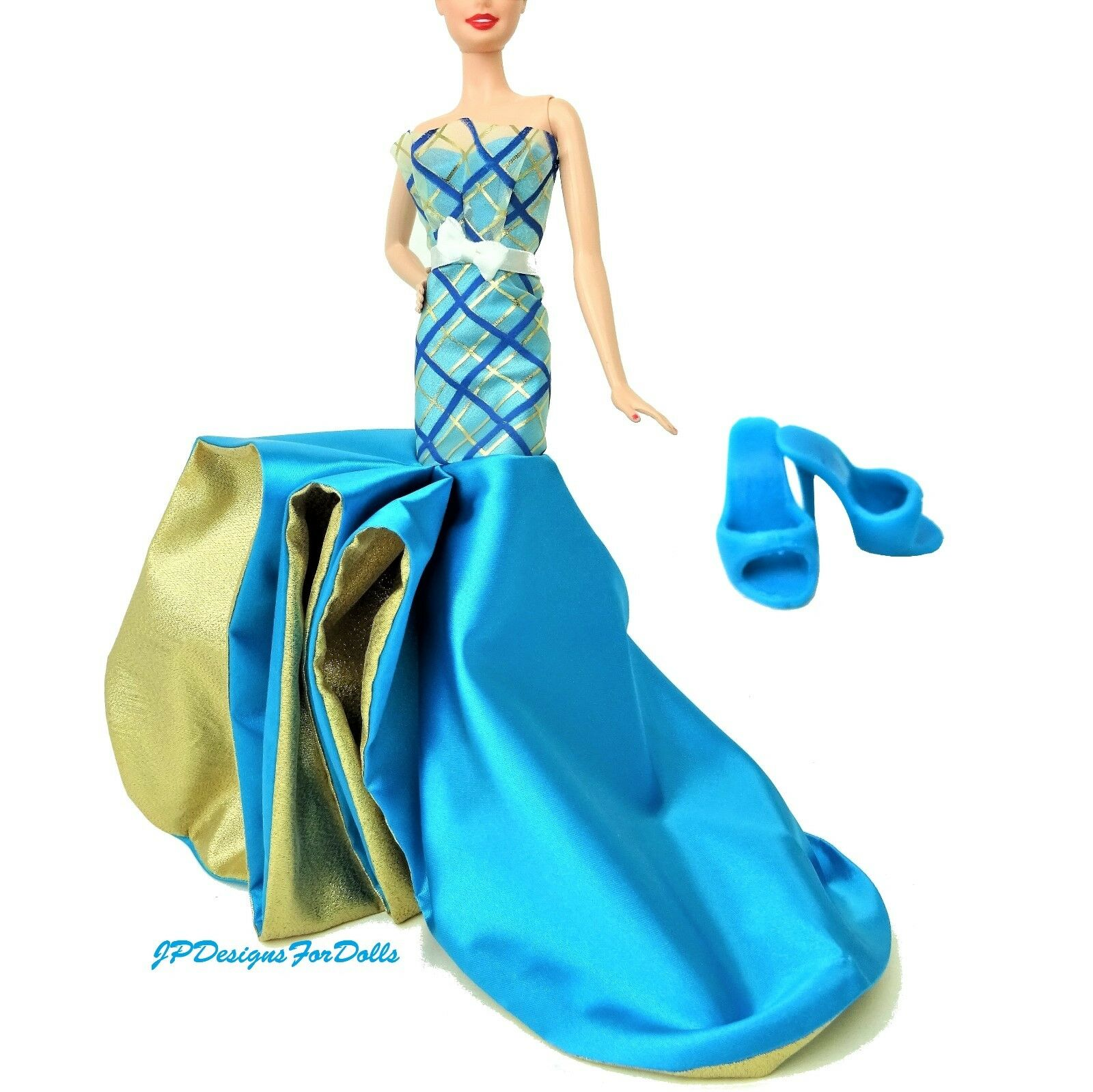 Barbie Fashion Blau and Gold Gown and Ken Slippers Happy Birthday Ken and Rosa Label f573c5