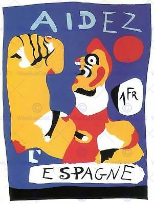 WAR PROPAGANDA HELP SPAIN SPANISH CIVIL MIRO AID VINTAGE ADVERT POSTER 2693PY