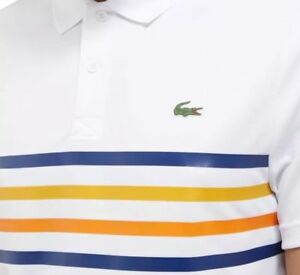 cb14b20d LACOSTE SPORT STRIPED POLO SHIRT - XL T6 - WHITE - ULTRA DRY ...