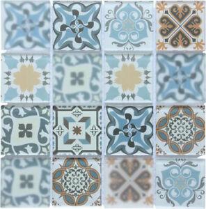 Image Is Loading Blue Patterned Gl Mosaic Tiles Sheet 300x300x8mm Mt0179