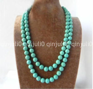 36-039-039-10mm-Round-Ball-Green-Blue-Turquoise-Stone-Long-Necklace-jewelry-JN578
