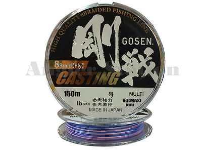#2.0//35lb//150m Braided Fishing Line Gosen W8 Casting 8 Braid Ply Multi-Colour