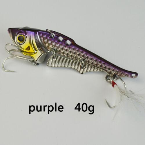 40g Fishing Bait Lure Collocation Origin Treble Hooks Artificial Hard Lure Metal