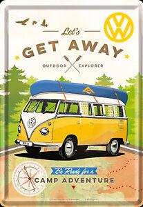Nostalgic-Art-Metal-Postcard-VW-Let-039-s-Get-Away-Outdoor-Explorer-3-7-8x5-1-2in