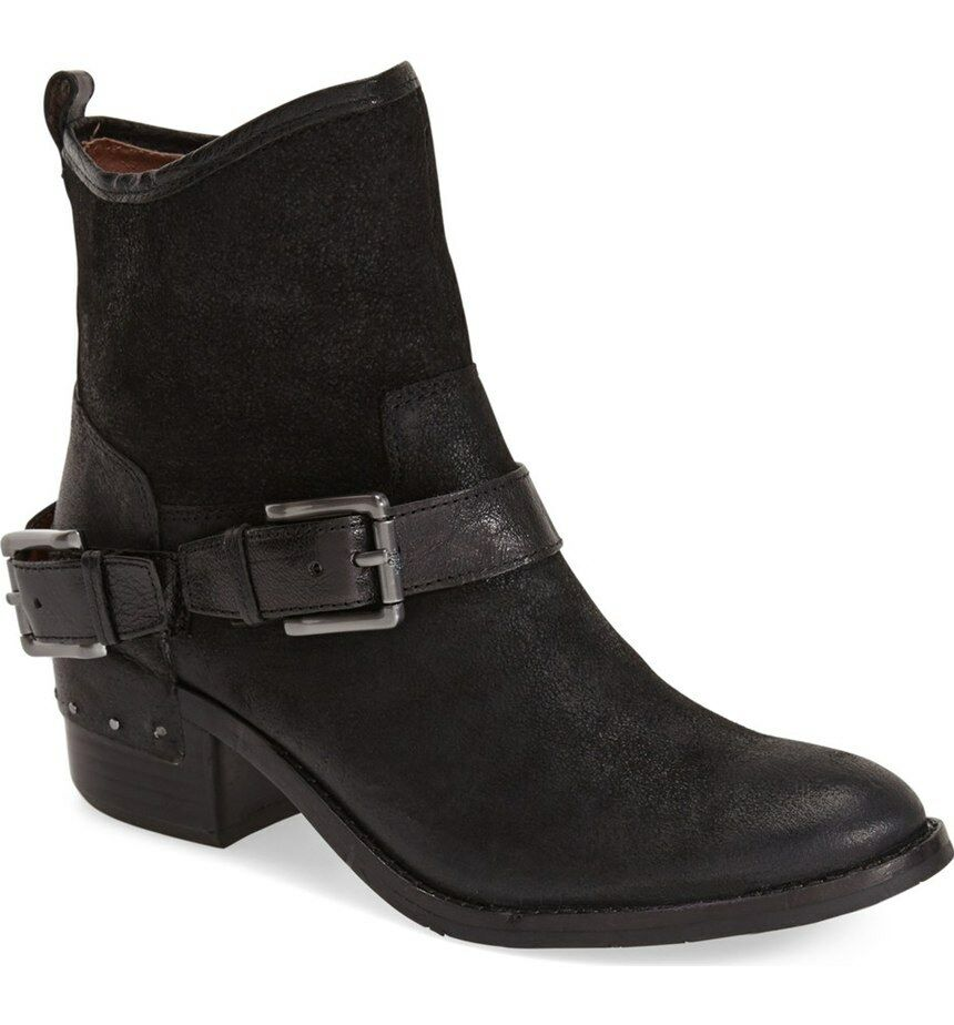 $348 Donald J Pliner Womens Wade Reverse Leather Riding Ankle Boots Black 8 NEW