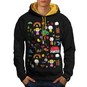 Colorful con uomo contrasto per colorata Felpa a cappuccio oro cappuccio Black x0awdqnpS