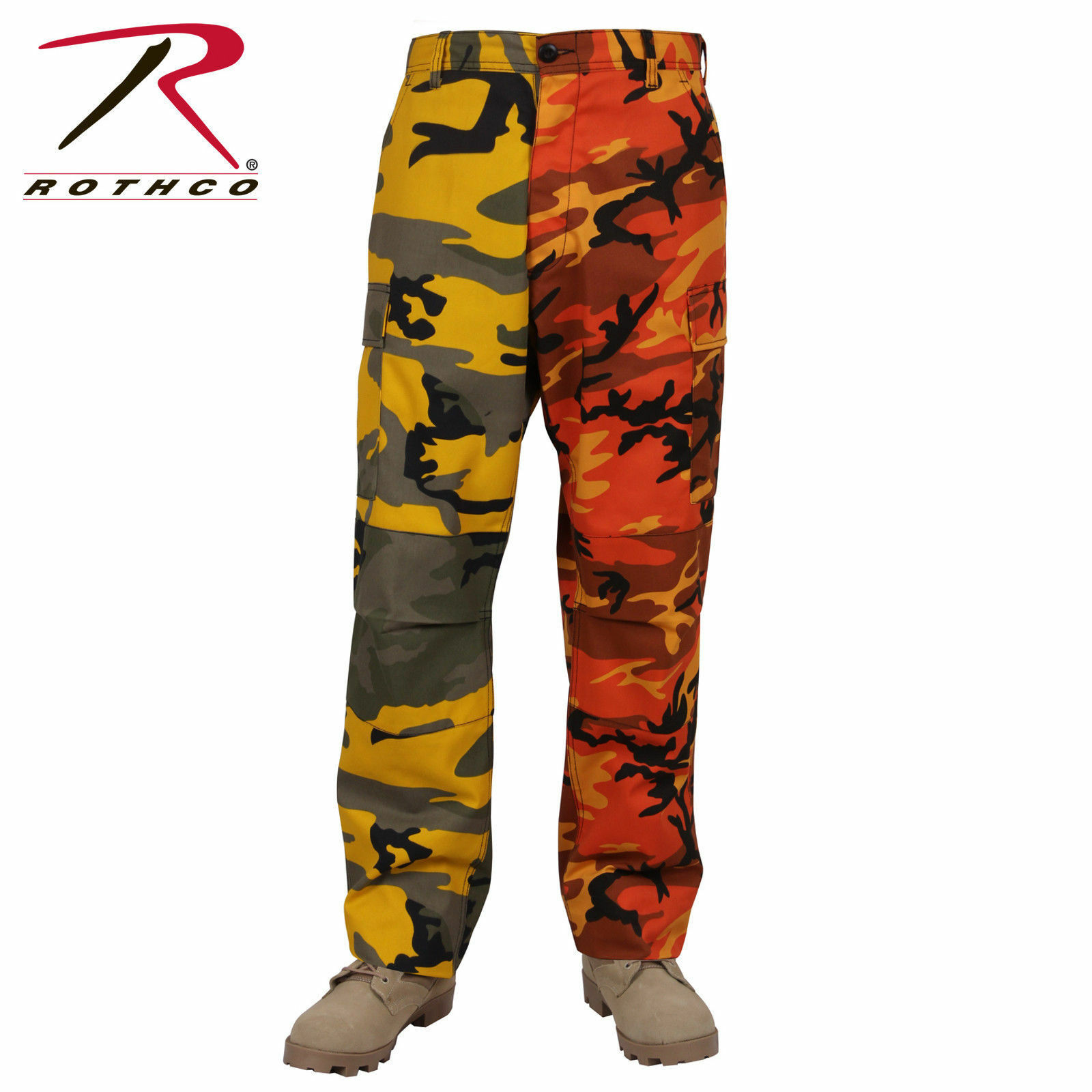 redHCO 1830 MENS BDU PANTS CARGO TWO TONE orange CAMOFLAGE YELLOW CAMO XS TO 3X