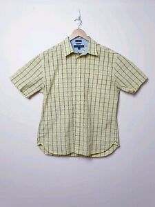 Tommy-Hilfiger-Mens-Shirt-Size-L-Yellow-Blue-White-plaid-checked-collared