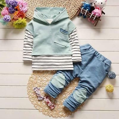 Toddler Kids Baby  Clothes Set Boys Girls Outfits T-shirt Tops+Stripe Long Pants