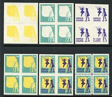 1952 CRIPPLED CHILDREN PROGRESSIVE COLOR TRIALS IN BLOCKS OF 4