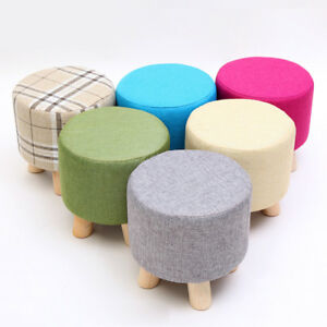 Image Is Loading Round Ottoman Stool Small Wooden Soft Rest Chair