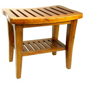 Details About Teak Shower Bench Curved Seat Stool Spa Bath Garden Patio Indoor Outdoor Wood
