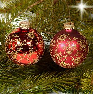 Details zu 4er Set Christbaumschmuck Glas Christbaumkugel Lauscha rot mattglänzend 7 cm