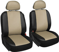 Faux Leather Car Seat Covers Black Tan 6pc Bucket Set w/Head Rests