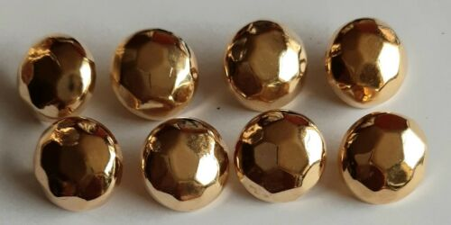 LC66 8 x 18mm Large Gold Soft Facet Round Plastic Shank Buttons