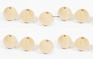 10-x-20mm-Natural-Round-Wooden-Beads-Jewellery-Spacer-with-4mm-Hole