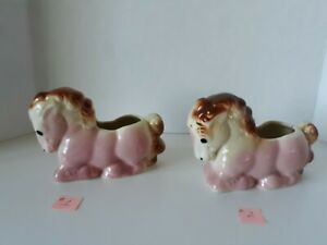 Shawnee Pottery Pony Planter Vintage Pink Brown Glaze Collectible