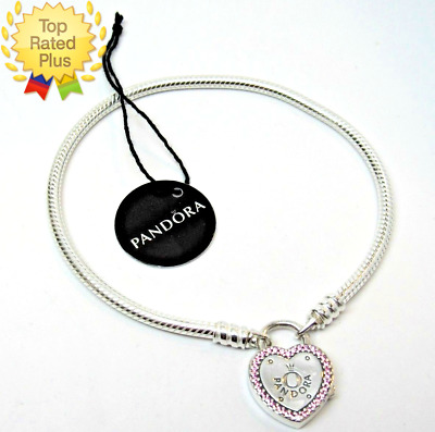 Authentic Pandora Size 7 1 Lock Your Promise Heart Padlock Bracelet 596586fpc Ebay
