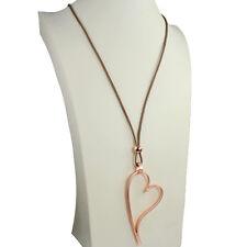 Lagenlook rose gold colour large open heart pendant beige leather long necklace