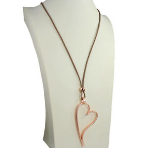85b43b391c45 Lagenlook rose gold colour large open heart pendant beige leather ...