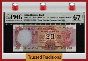 TT-PK-82k-ND-1997-INDIA-RESERVE-BANK-20-RUPEES-PMG-67-EPQ-SUPERB-GEM-UNC