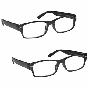 9c5f5f613ed 2 Packs Mens Large Designer Style Reading Glasses Spring Hinges UV ...