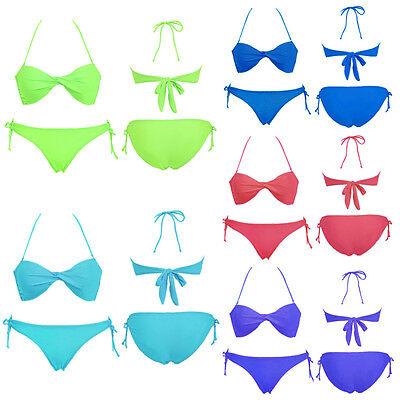 2Pcs/Set  Hot Sexy Women Girl Bandeau Padded Bra Low Rise Bikini Beach Swimwear
