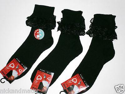 3 Pares Negro calcetines de tobillo con ribete de encaje pequeñas niñas Para Damas Tamaños. 004b