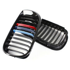 Pair Front M-color Kidney Grille Grill For BMW E46 4D 3 Series 02-05 Gloss Black