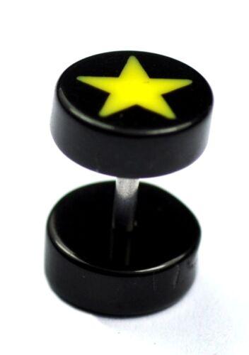 Acrílico Star falsa oreja enchufes Piercings Expansor Camillas Cheater 8mm Stud