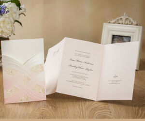 Details About Elegant Lace Wedding Baby Shower Quinceanera Invitations Invite Cards Blush Pink
