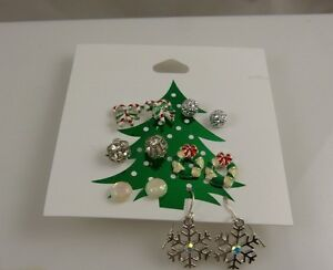 Claires-Earrings-studs-and-dangle-pierced-crystals-assortment-6-pairs-Christmas