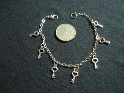bracciale catena pendoli charms chiave morbido bigiotteria 19 cm regalo donna