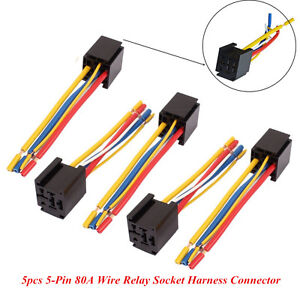 5 wire trailer wiring harness diagram 5 pcs dc 12v/24v 80a auto suv 5-pin wire relay socket ... 5 wire auto harness #13
