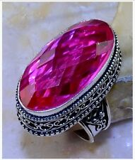 FACETED PINK TOPAZ STONE ANTIQUE STYLE 925 STERLING SILVER PLATED RING ~ SIZE 8