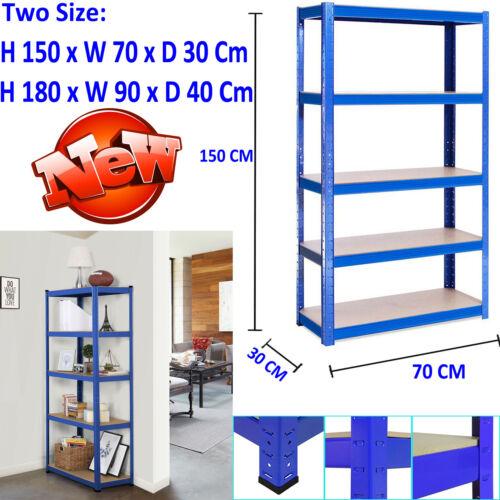1.5m 1.8m Shelf Garage Metal Storage Racks 5 Tier Adjustable Shelves Units Blue